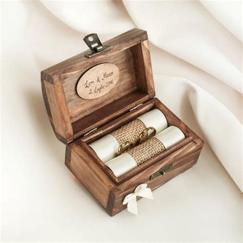 Personalized Wedding Ring Box. Wooden Ring Box. Ring