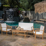 Luciano 4-Piece Acacia Outdoor Wood Chat Set with Cushions