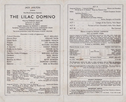 """The Lilac Domino"" Theatre Programme London 1944"