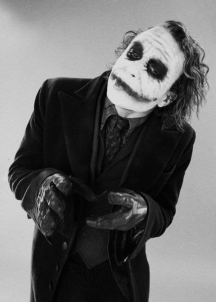 A promo pic of the late Heath Ledger as the Joker in THE DARK KNIGHT.