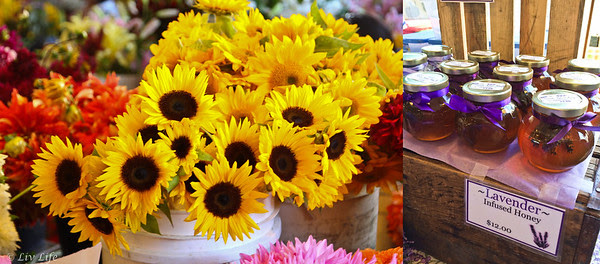 Flowers and goods at Pike Place Market