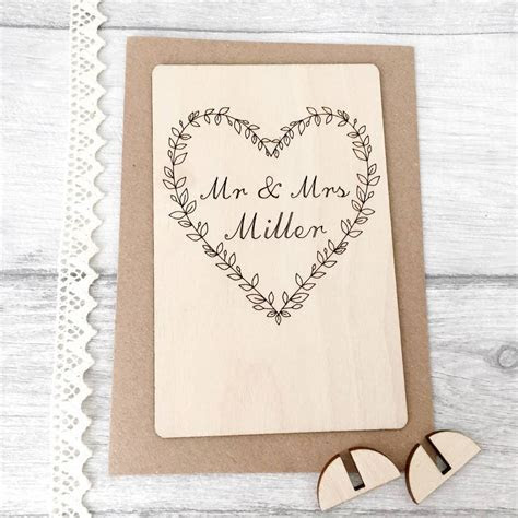 personalised mr and mrs wooden wedding card by jayne tapp
