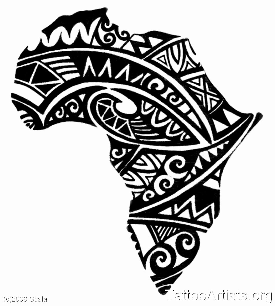 Black African Map Tattoo Design