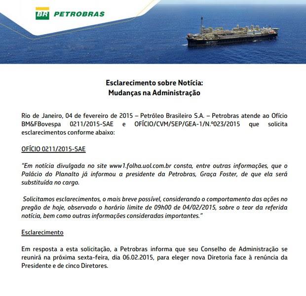 Comunicado da Petrobras anuncia saída de Graça (Foto: Reprodução)