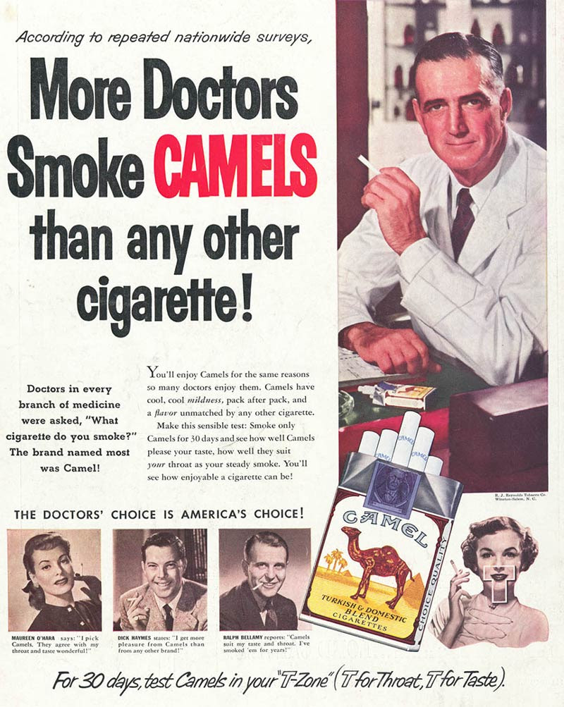 Image result for doctor smoking camel old ads