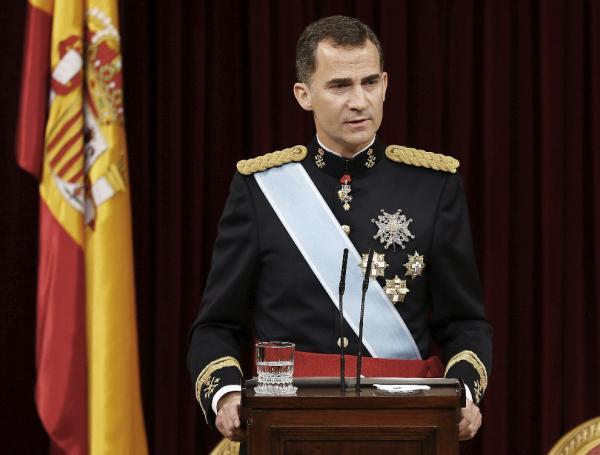 El Rey Felipe VI pronuncia su discurso. Foto: ©Agencia Efe/Paco Campos