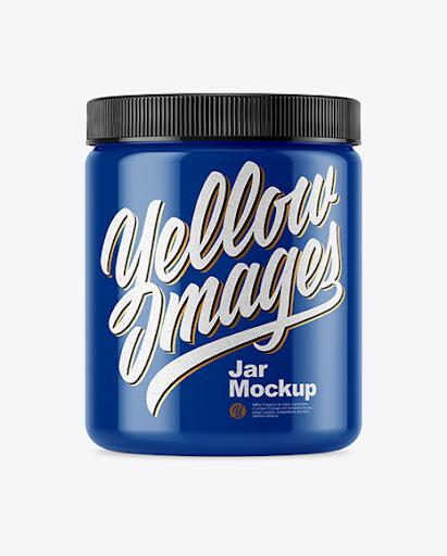 Download Glossy Plastic Protein Jar Mockup - Hero Shot - Glossy ...