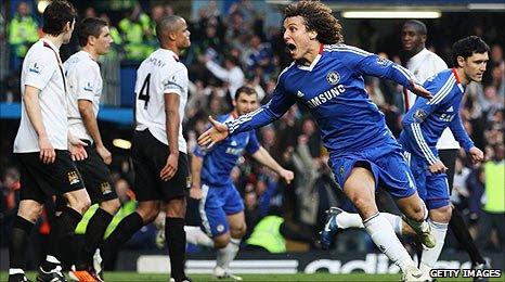 David Luiz celebrates Chelsea's opening goal