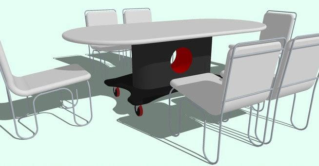Sketchup Components 3D Warehouse - Dining Table with Chairs