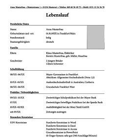 Muster Lebenslauf Word: Muster Lebenslauf Nach Abitur