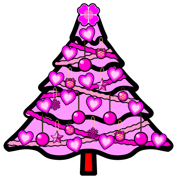 かわいいラブラブなピンクのクリスマスツリーの無料イラスト商用フリー