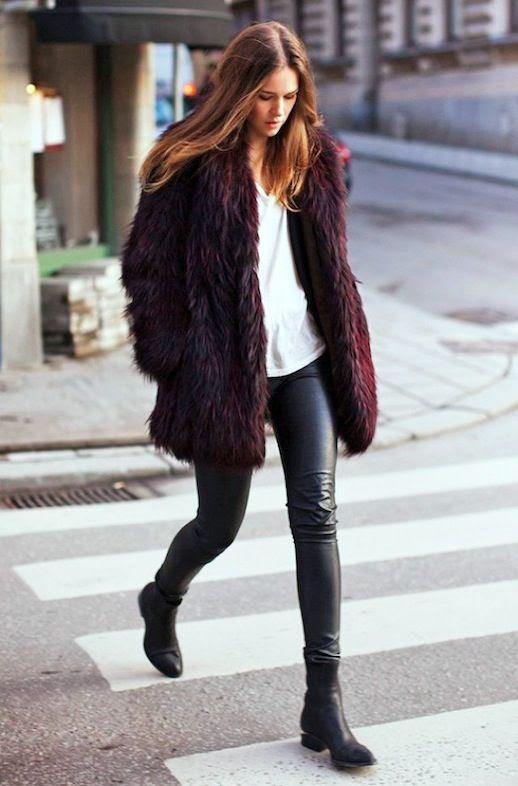 Le Fashion 2 Cool Ways To Wear A Burgundy Fur Coat