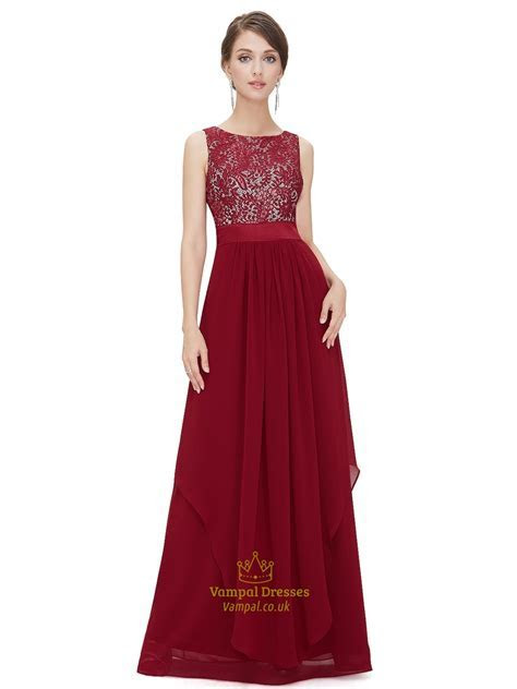 Burgundy Lace Top Chiffon Bottom Bridesmaid Dresses With