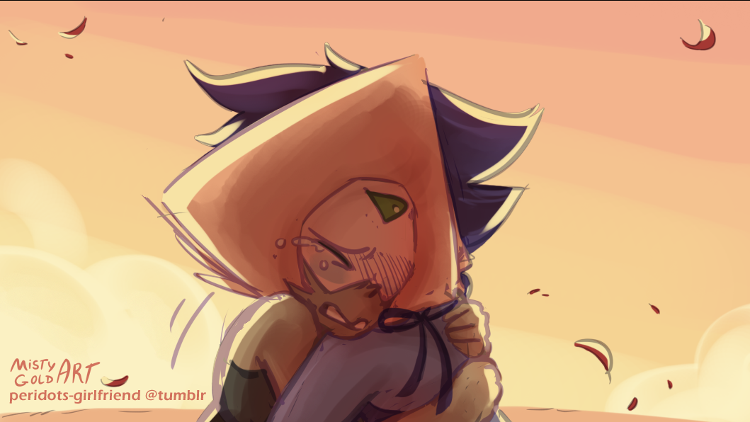 Colored some of @peridots-girlfriend's sketches! [x] I love the emotion you put into your drawings, and I felt like this one would look really nice with the lapidot sunset colors™ Hope you like it!!...