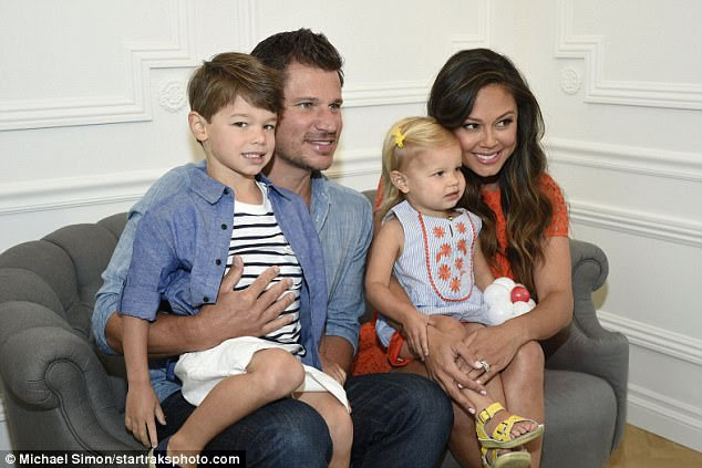 Quartet: Nick and Vanessa Lachey swung by The Grove with the two eldest of their three children: four-year-old son Camden and two-year-old daughter Brooklyn