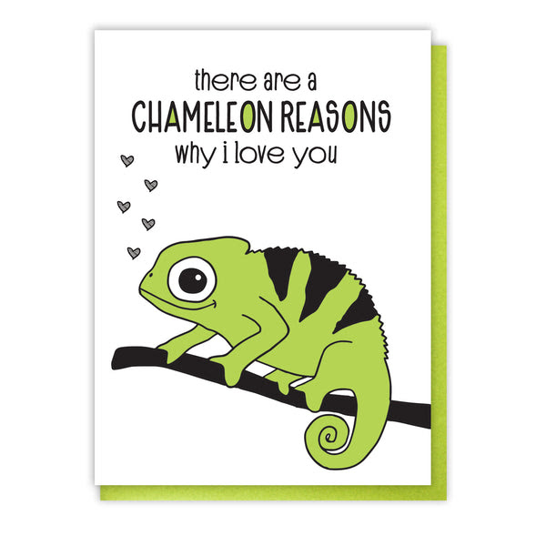 New Funny Love Letterpress Card Chameleon Reasons Why I Love You