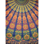 """Sanganeer Indian Tapestry Cotton Bedspread 96"""" x 86"""" Full Blue"""