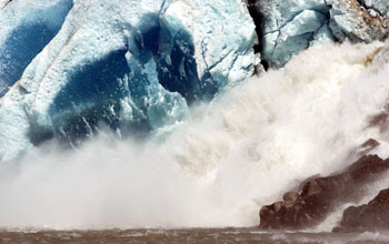 Photo of a torrent of ice-water from Mendenhall Glacier.