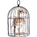 Skeleton Crow In Cage - 79528 - Black - standard