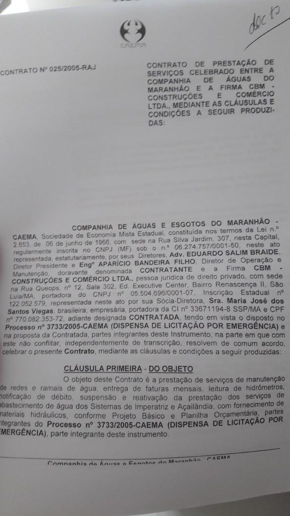 <b>Caema</b>: <b>Braide</b> destinou, sem licitação, R$ 5 milhões à empresa do ...
