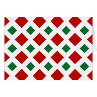 Red and Green Diamonds on White Greeting Cards