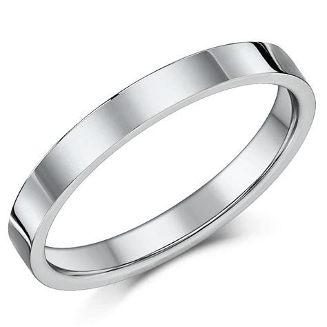 3mm Flat Court Sterling Silver Wedding Ring Band