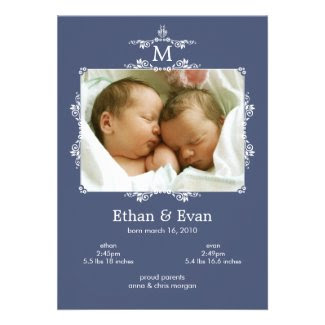 Classic Monogram Twins Photo Birth Announcement