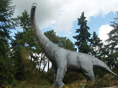 One of the dinosaur models at the Parc de Préhistoire de Bretagne. There are also tableau's of dinosaur eggs, T-rex, Stegosaurus and other dinosaurs that roamed across ancient Brittany