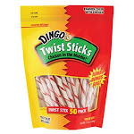 Dingo P-45022 Twist Sticks Chicken Rawhide Twists, 10 Oz, 50-pack