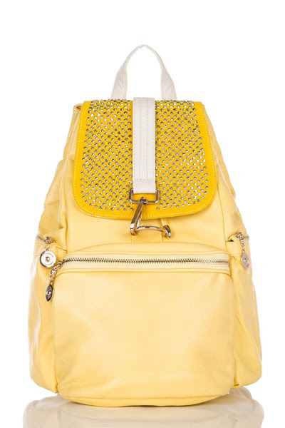 Ladies Handbags UK - Satchels, Messenger and Cross-Body Bags. School and College Bag - Rucksacks and Backpacks, Travel and Holiday Bags | Yellow Diamante Back Pack, One remaining…