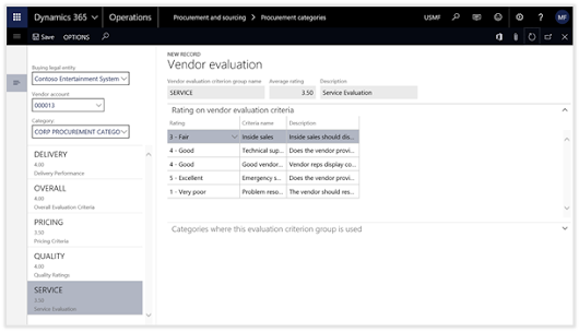 Configuring Vendor Ratings within Dynamics 365 for Operations
