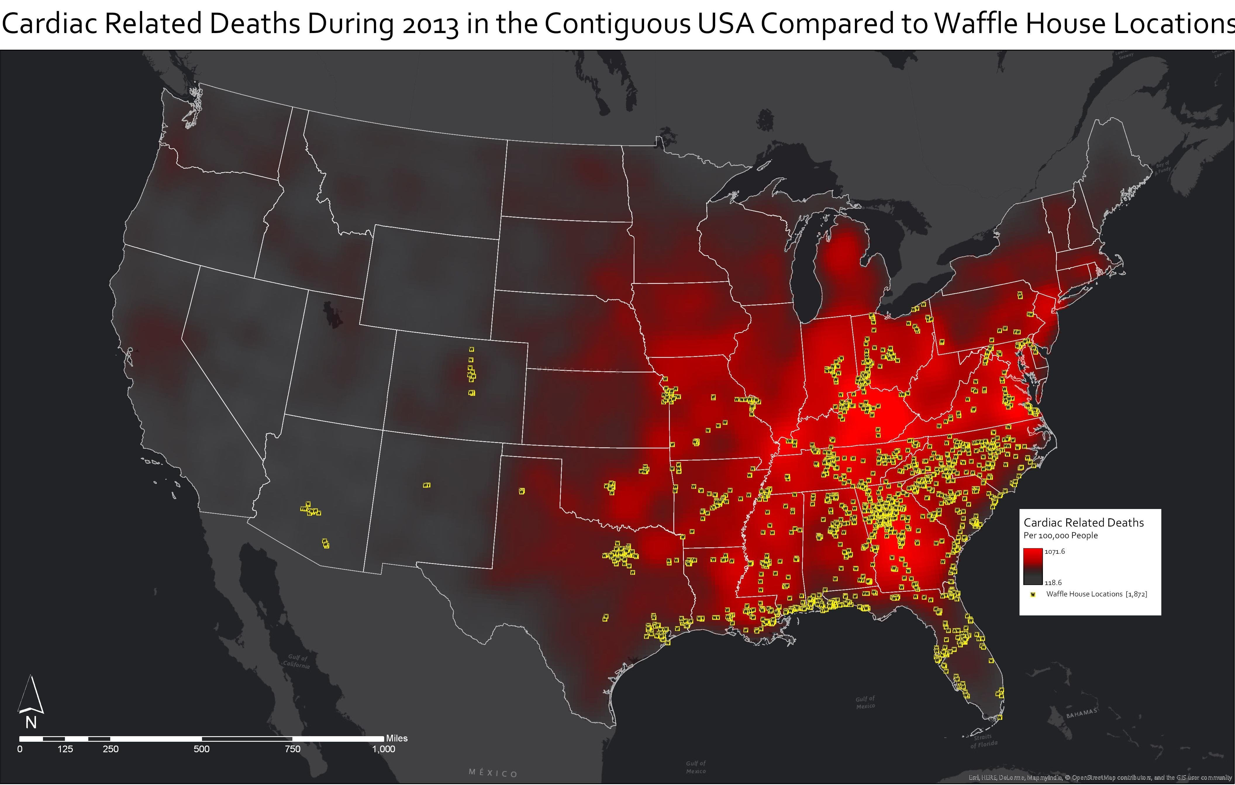 This Map Shows Cardiac Relateds Near Waffle House