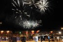 People observe fireworks during celebration of Croatia entering the EU, at the bordercross in Bregana