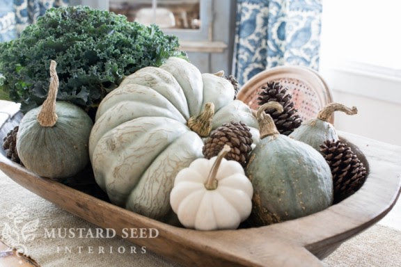 10 Ways to Decorate with Pumpkins - Fill a Bowl (via Miss Mustard Seed) | www.andersonandgrant.com