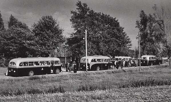 1952 v.l.n.r. Scania-Vabis  Ford met carrosserie van Jongerius  Ford Transit met carrosserie van Verheul en bus 8 Kromhout