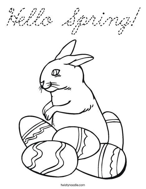 Hello Spring Coloring Page - Cursive - Twisty Noodle