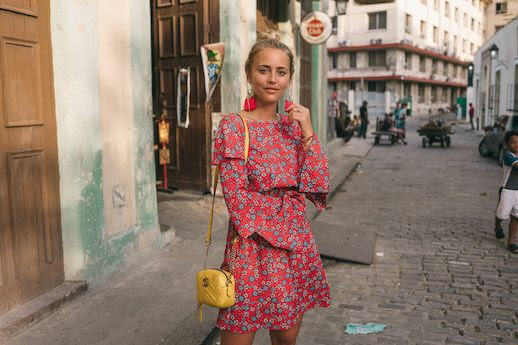 Le Fashion Blog Tassle Earrings Red Floral Dress Gucci Bag Via Janni Deler