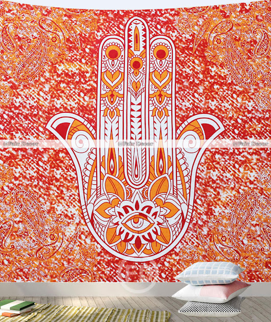Queen Size Mandala Tapestry Orange Fatima Hamsa Hand Wall Hanging and Wall Tapestries