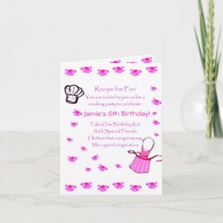 Kids Cooking Party Invitation Customize card