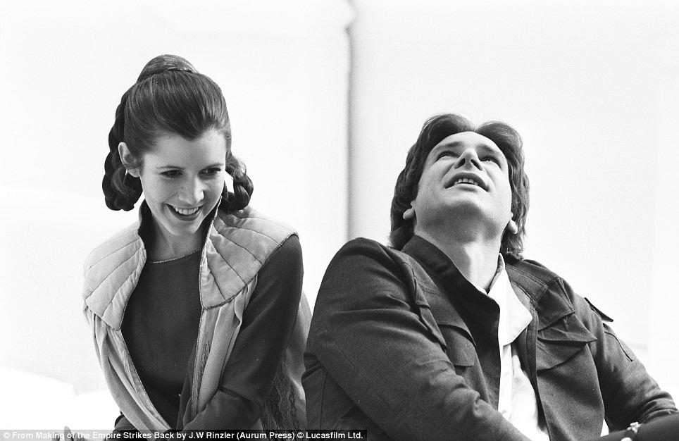 The images, like this one of Carrie Fisher and Harrison Ford can be found in a new book called 'The making of Empire Strikes Back' by J.W. Rinzler