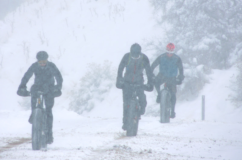 Fat bikers exiting Waterton Canyon after a wintery ride.