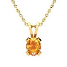 1/2 Carat Oval Shape Citrine Necklace in 14K Yellow Gold Over Sterling Silver