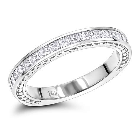 14K Gold Designer Diamond Wedding Band for Women Princess