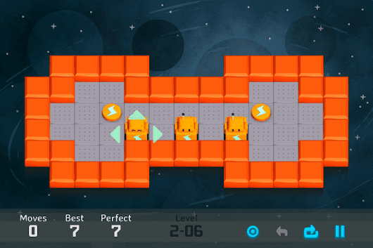 Challenging block-sliding puzzler with funny cute orange-colored robots. Think before moving them!
