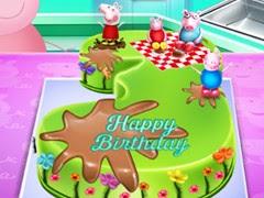 طبخ كيك عيد ميلاد الخنزير بيبا