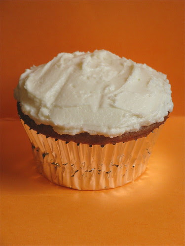 Sweet Potato Cupcake with Goat Cheese & Honey Frosting