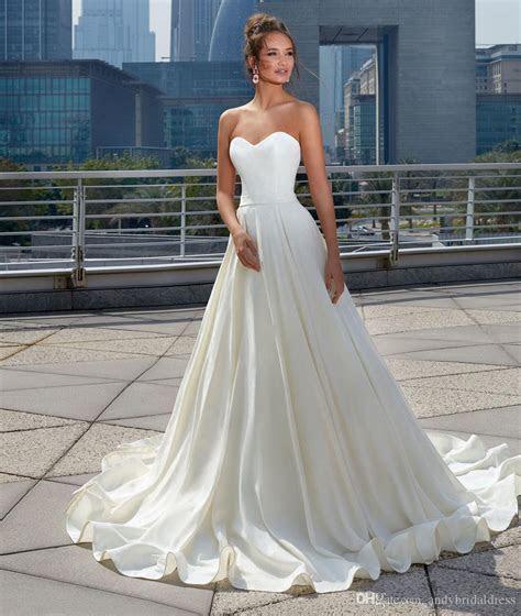 Discount 2017 Princess Satin Wedding Dress Simple Design