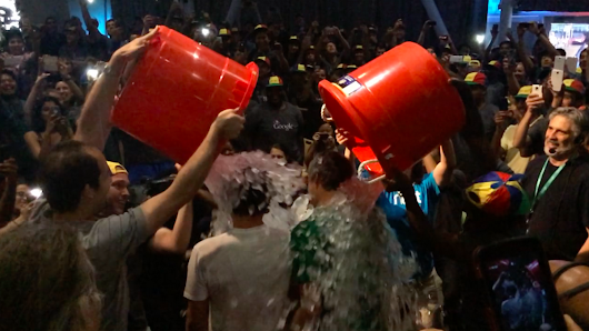 Google's Larry Page and Sergey Brin take on the ice bucket challenge