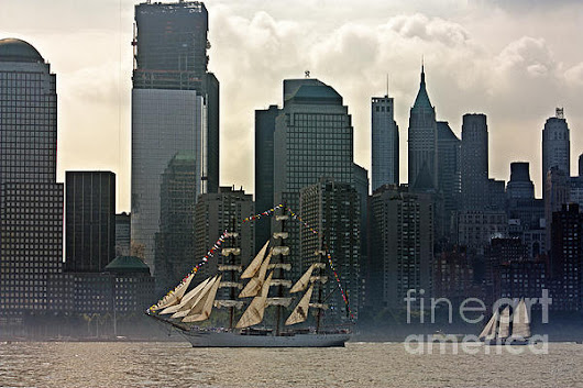 Tall Ship Sailing Past The New York Skyline by Nishanth Gopinathan