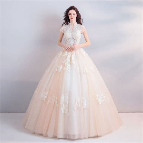 High Neck Wedding Dress Lace Ball Gown Bridal Dress Sale
